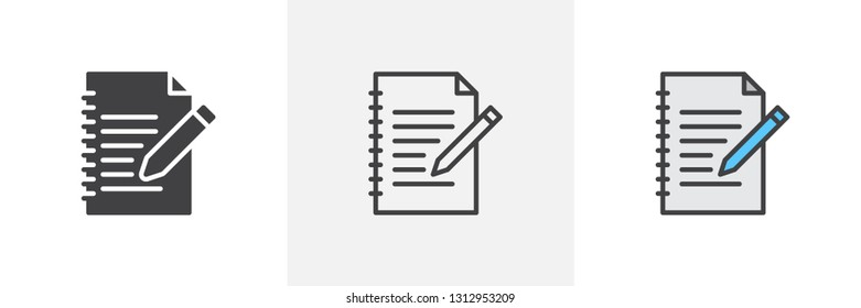 Document edit icon. Line, glyph and filled outline colorful version, document file with pen outline and filled vector sign. Symbol, logo illustration. Different style icons set. Pixel perfect vector