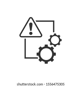 Document error icon in flat style. Broken report vector illustration on white isolated background. Damaged business concept.