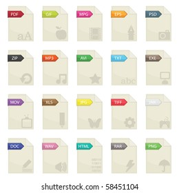 document file extensions with labels isolated on white