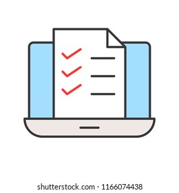document or file on laptop screen, e-learning concept, editable stroke outline icon