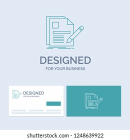 document, file, page, pen, Resume Business Logo Line Icon Symbol for your business. Turquoise Business Cards with Brand logo template
