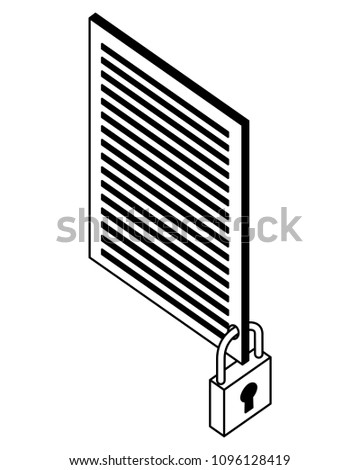 Document File Security Protection Isometric Stock Vector Royalty