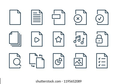Document and file type line icons. vector linear icon set.