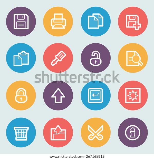 Document flat contour icons on colors buttons.