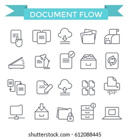 Document flow and archive icons, thin line, flat design