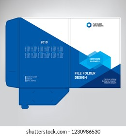 Document folder design, cover design, photo and text template, geometric blue background