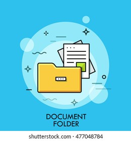 Document folder, flat design thin line banner, usage for e-mail newsletters, web templates, headers, blog posts, print and more