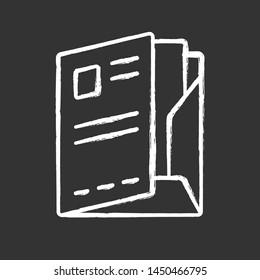 Document folder, paper case chalk icon. Portfolio isolated vector chalkboard illustration. Office work, bureaucracy symbol. Corporate documentation management, organization. Company clerk accessory