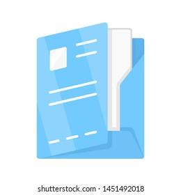 Document folder, paper case flat design color icon. Portfolio isolated vector illustration. Office work, bureaucracy symbol. Corporate documentation management, organization. Company clerk accessory