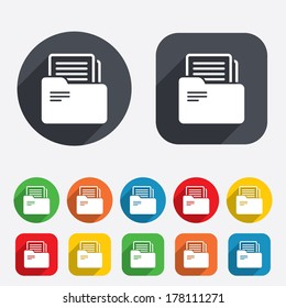 Document folder sign. Accounting binder symbol. Bookkeeping management. Circles and rounded squares 12 buttons. Vector