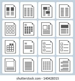 document form set, document layout icons set
