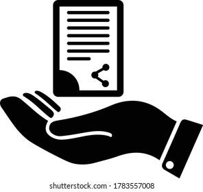 Document handover icon / black color