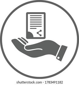 Document handover icon / gray vector