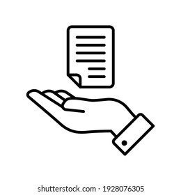 Document handover line icon. Simple outline style file symbol. Ownership, transfer, academy, business agreement concept. Vector illustration isolated on white background. EPS 10.