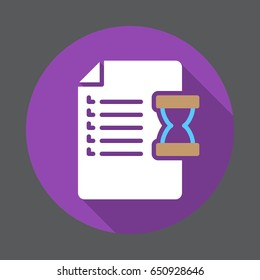 Document and hourglass flat icon. Round colorful button. Order, purchase history circular vector sign with long shadow effect. Flat style design
