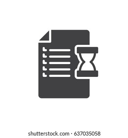 Document and hourglass icon vector, filled flat sign, solid pictogram isolated on white. Order, purchase history symbol, logo illustration. Pixel perfect