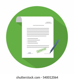 Document icon. Agreement (contract) in flat style with long shadow. Vector
