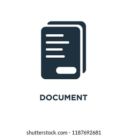 Document icon. Black filled vector illustration. Document symbol on white background. Can be used in web and mobile.