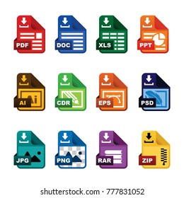 Document icon (file extension) download vector set.