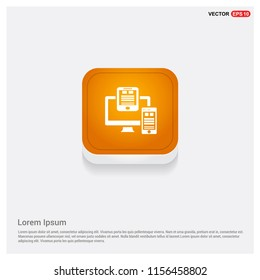 Document Icon Orange Abstract Web Button - Free vector icon