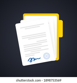 Document icon. Paper documents in folder with signature and text, contract idea. Confirmed or approved document. Vector on isolated background. EPS 10