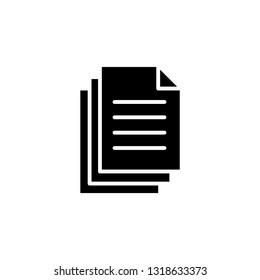 Document icon. Paper icon. Note symbol. Vector icon, symbol for website design, app.