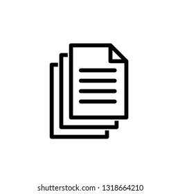 Document icon. Paper icon. Note symbol. Vector icon, symbol for website design, app.