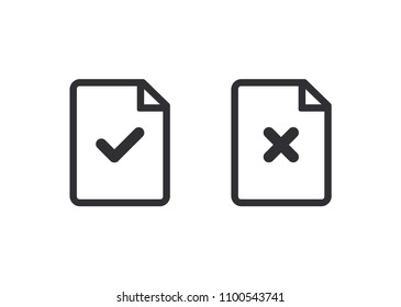 Document icon. Paper icon. Reject file. Check mark. Cross signs. Checkmark OK and  X icons. Symbols YES and NO.  Accept document. Vector illustration. Color easy to edit. Transparent background.