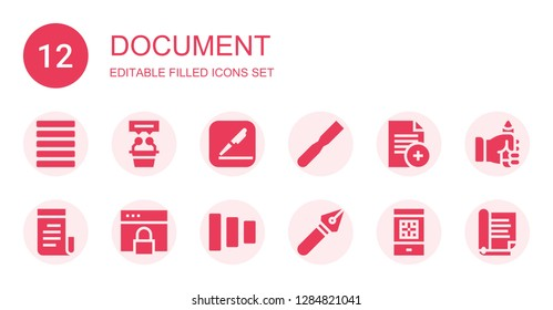 document icon set. Collection of 12 filled document icons included Justify, Interview, Pages, File, Document, Newspaper, Browser, Fade buttons, Pen, Boarding pass, Pencil