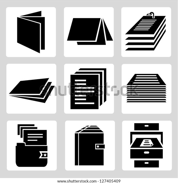 document icon set, stack of paper sign