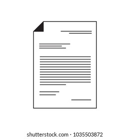 Document icon. Sheet of paper with text. Outline modern design element. Simple black flat vector sign .