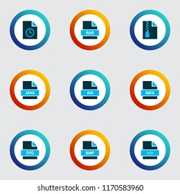 Document icons colored set with file svg, file rar, file archive and other programming language elements. Isolated vector illustration document icons.