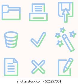 Document icons, light blue contour