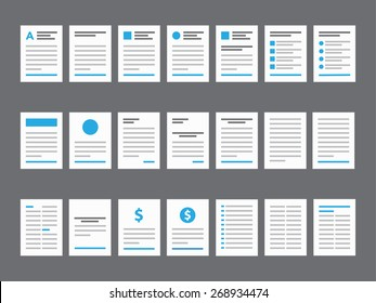 Document Icons - Paper, Checklist, File, Letter Glyph Vector illustration