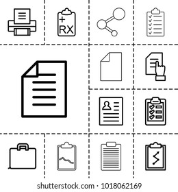 Document icons. set of 13 editable outline document icons such as pointing on document, resume, case, clipboard with chart, clipboard, paper, printer, check list, checklist