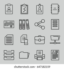 Document icons set. set of 16 document outline icons such as resume, folder, clipboard, table box, printer, case, notebook, share, clipboard with chart