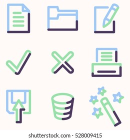 Document icons set 2, color contour series