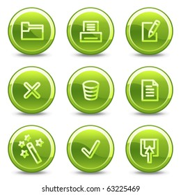 Document icons set 2, green circle glossy buttons