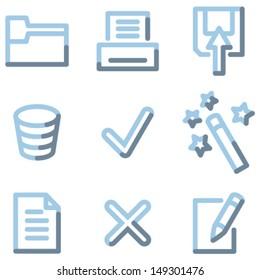 Document icons set 2, light blue contour