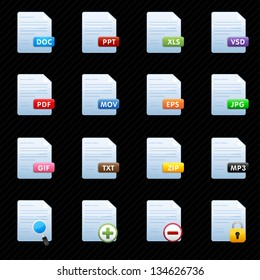 Document Icons Set black background