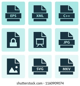 Document icons set with programming language, script, image and other svg elements. Isolated vector illustration document icons.