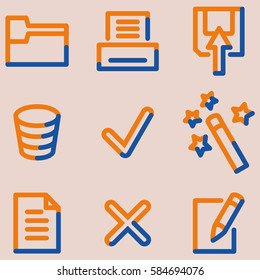 Document icons set, signs for infographics, web, presentation