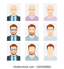 Document identification photo of man. Male avatar profile picture icon set. Man head illustration with different hair styles, glasses and beard.