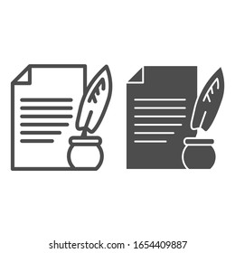 Document and ink pen line and solid icon. Paper scroll with feather, ancient sheet and quill. Jurisprudence design concept, outline style pictogram on white background, use for web and app. Eps 10