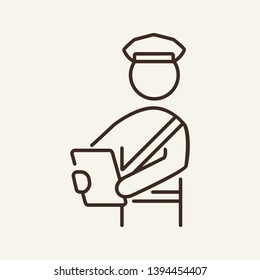 Document inspection line icon. Officer, counter, passenger. Customs concept. Vector illustration can be used for topics like travel, airport, travel, safety, security