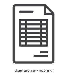 Document invoice line icon, outline vector sign, linear style pictogram isolated on white. Symbol, logo illustration. Editable stroke. Pixel perfect vector graphics