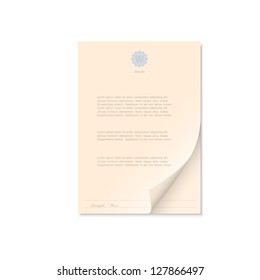 Document isolated on white. Vector EPS10