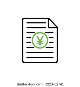 Document with JPY / CNY symbol, Earnings report, profit, vector illustration