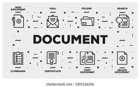 DOCUMENT LINE ICON SET