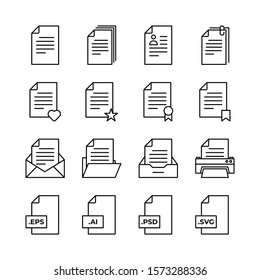 Document line icons set vector illustration. Document, pages, profil, pin, love, like, award, achievment, saved, folder, letter, format, eps, ai, psd, svg, printer. Pixel perfect. Editable Stroke